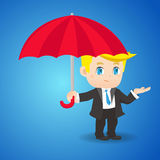 Cartoon illustration businessman with umbrella Royalty Free Stock Photos