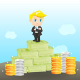 Cartoon illustration businessman wealthy Stock Photos