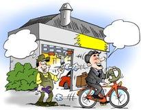 Cartoon illustration of a a businessman who has mounted a steering wheel on his bike. Cartoon illustration of a businessman who has mounted a steering wheel on Stock Photo