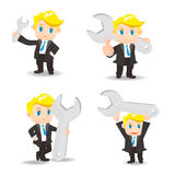 Cartoon illustration Businessman with wrench Royalty Free Stock Photography