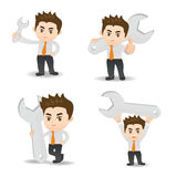 Cartoon illustration Businessman with wrench Stock Photos
