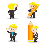Cartoon illustration Businessman write Stock Images