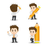 Cartoon illustration Businessman write. Cartoon illustration set of Business man write Royalty Free Stock Images