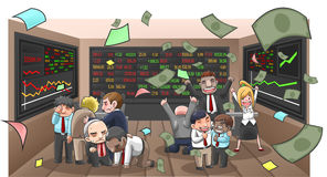 Cartoon illustration of businesspeople, broker, and investor. In stock market with money flying with wealth and lost from investment, create by vector vector illustration