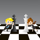 Cartoon illustration businesspeople competing Royalty Free Stock Photography