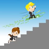 Cartoon illustration businesspeople competing Royalty Free Stock Images