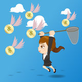 Cartoon illustration businesswoman catching money Royalty Free Stock Photography