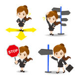 Cartoon illustration Businesswoman choose directions Royalty Free Stock Image