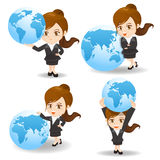 Cartoon illustration Businesswoman with global Stock Images