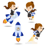 Cartoon illustration Businesswoman with rocket. Cartoon illustration set of Business woman with rocket,growth Stock Photo