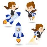 Cartoon illustration Businesswoman with rocket Stock Photo
