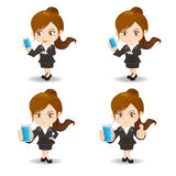 Cartoon illustration Businesswoman with smartphone Royalty Free Stock Photos