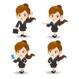 Cartoon illustration Businesswoman with smartphone Stock Photos