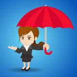 Cartoon illustration businesswoman with umbrella Royalty Free Stock Photography