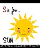Cartoon Illustration of Capital Letter S with SUN. For Children Education stock illustration