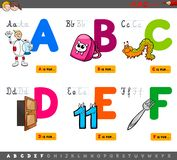 Educational cartoon alphabet letters for kids. Cartoon Illustration of Capital Letters Alphabet Educational Set for Reading and Writing Practise for Kids from A royalty free illustration