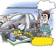 Cartoon illustration of a car installer who has mounted the car door in anticipation. Cartoon illustration of an car installer who has mounted the car door in Royalty Free Stock Photo