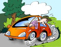 Cartoon illustration of a car owner driving with wrong tire pressure in the crank, so that it runs on three wheels. Cartoon illustration of a car owner driving Stock Photography