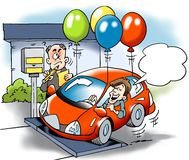 Cartoon illustration of  A car owner trying to cheat with the total weight of the vehicle road tax Stock Photo