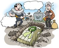 Cartoon illustration of a car owner who buries his old car Royalty Free Stock Images