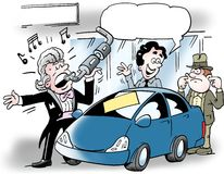 Cartoon illustration of an car salesman who sings into an auto exhaust Royalty Free Stock Image