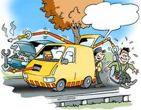 Cartoon illustration of a car service road assistance Royalty Free Stock Photo