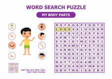 Word search puzzle. My body parts - anatomy for children. stock image