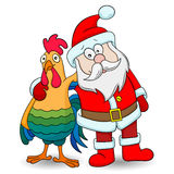 Cartoon illustration with cartoon rooster and Santa Claus on white background isolate Royalty Free Stock Photos