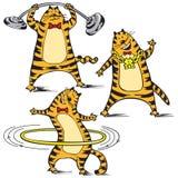 Cartoon illustration of cat. Cartoon illustration of red funny cats