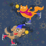 Cartoon illustration  The cat and the dog with sparklers skate on abstract background with snowflakes. The cat and the dog with sparklers skate on abstract Stock Photo