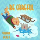 Cartoon illustration with Cat rescues kitten on broken ice , a warning of danger Stock Photos