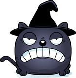 Cartoon Witch Cat Angry. A cartoon illustration of a cat in a witch hat with an angry expression Stock Image