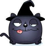 Cartoon Goofy Witch Cat. A cartoon illustration of a cat in a witch hat with a goofy expression Stock Images
