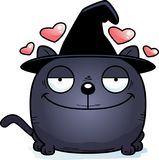 Cartoon Witch Cat Love. A cartoon illustration of a cat in a witch hat with an in love expression Royalty Free Stock Photos