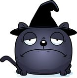 Cartoon Sad Witch Cat. A cartoon illustration of a cat in a witch hat with a sad expression Royalty Free Stock Photography