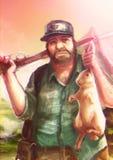 Cartoon illustration of a Caucasian hunter hunts a white rabbit Stock Photography