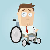Illustrated man in wheelchair. Cartoon or illustration of a caucasian male in a wheelchair dressed in white shirt, red tie and gray pants Royalty Free Stock Photography