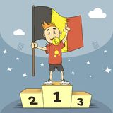 Cartoon illustration champion of Belgium in the first place with the flag stock illustration
