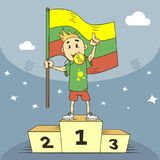 Cartoon illustration champion of Lithuania with a gold medal royalty free illustration