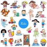 Cartoon kids characters big set stock illustration