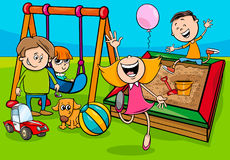 Cartoon children characters on playground Royalty Free Stock Photos