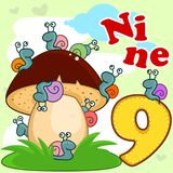 English digit nine. A cartoon illustration for children with figures of nine and nine snails sitting on a mushroom Royalty Free Stock Photos