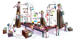 Cartoon illustration of children scientists studying chemistry, Royalty Free Stock Photos