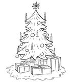 Cartoon Illustration of Christmas Xmas Tree with Gifts. Cartoon drawing illustration of Christmas spruce or fir tree with gifts or presents around Royalty Free Stock Image