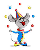 Cartoon illustration-circus mouse juggler Stock Image