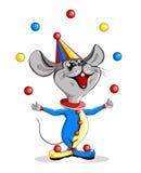 Cartoon illustration-circus mouse juggler. Cartoon illustration of a happy circus mouse jugging colorful balls Stock Image