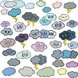 Cartoon Illustration of Clouds with Faces Vector Line Art Royalty Free Stock Photo