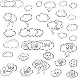 Cartoon Illustration of Clouds with Faces Vector Line Art Royalty Free Stock Image