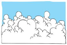 Cartoon illustration of Cloudscape with blue sky Royalty Free Stock Photography