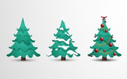 Cartoon illustration collection of Christmas tree in 3 different situations. Christmas tree decorated with balls, bow, garlands, s vector illustration